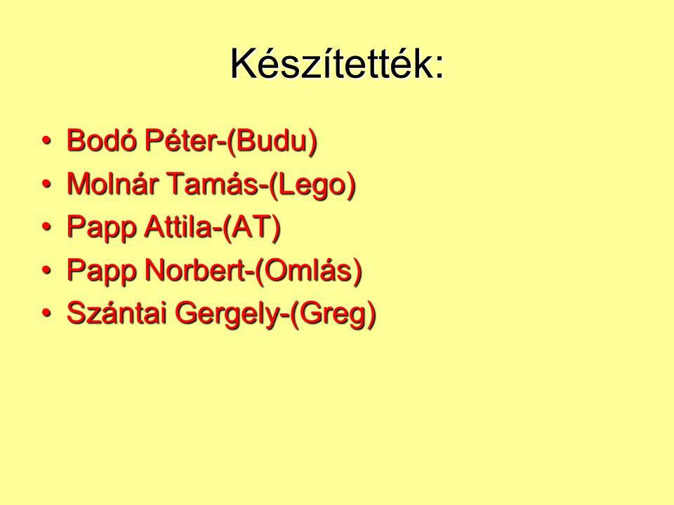 Készítették: Bodó Péter-(Budu) Molnár Tamás-(Lego) Papp Attila-(AT)