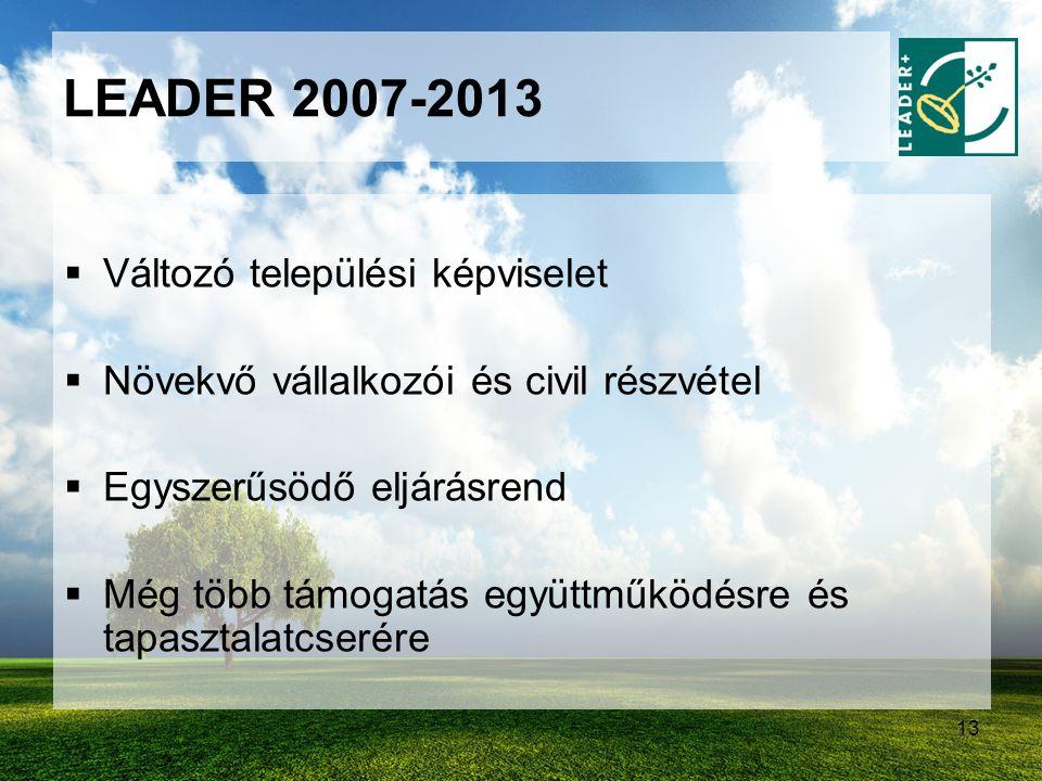 LEADER 2007-2013 Változó települési képviselet