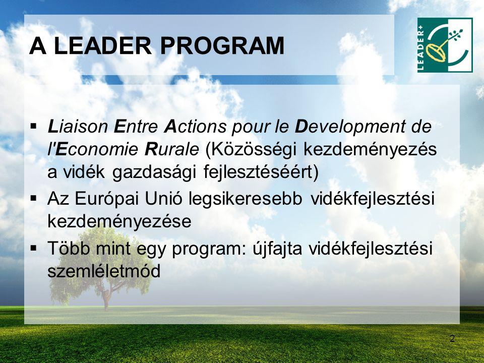A LEADER PROGRAM Liaison Entre Actions pour le Development de l Economie Rurale (Közösségi kezdeményezés a vidék gazdasági fejlesztéséért)