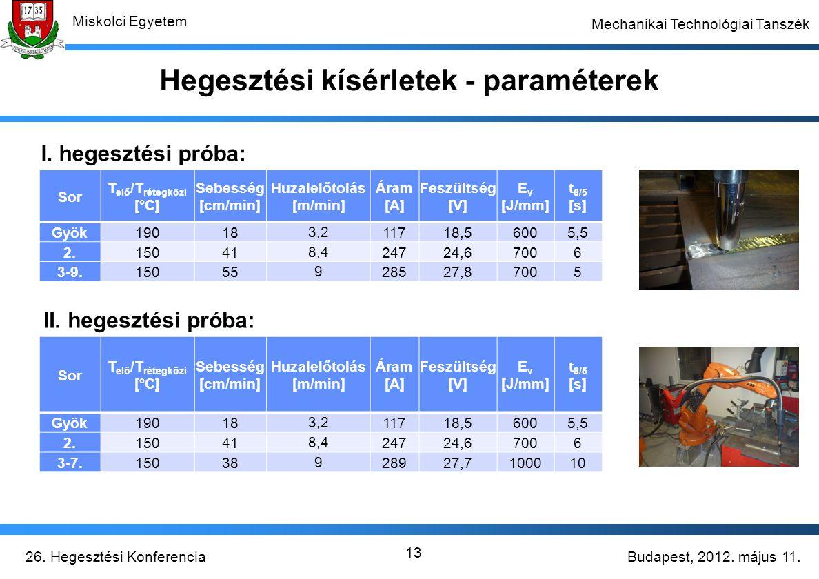 Hegesztési kísérletek - paraméterek