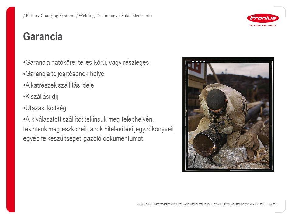 Garancia Garancia hatóköre: teljes körű, vagy részleges