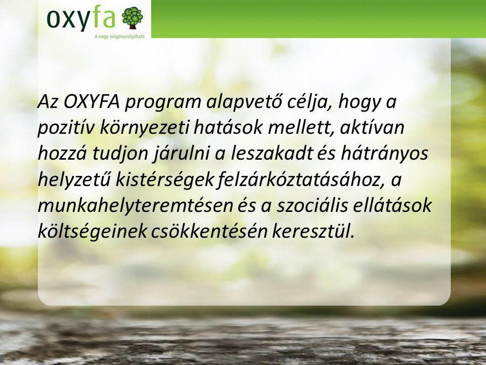 Az OXYFA program alapvető célja, hogy a pozitív környezeti hatások mellett, aktívan hozzá tudjon járulni a leszakadt és hátrányos helyzetű kistérségek felzárkóztatásához, a munkahelyteremtésen és a szociális ellátások költségeinek csökkentésén keresztül.