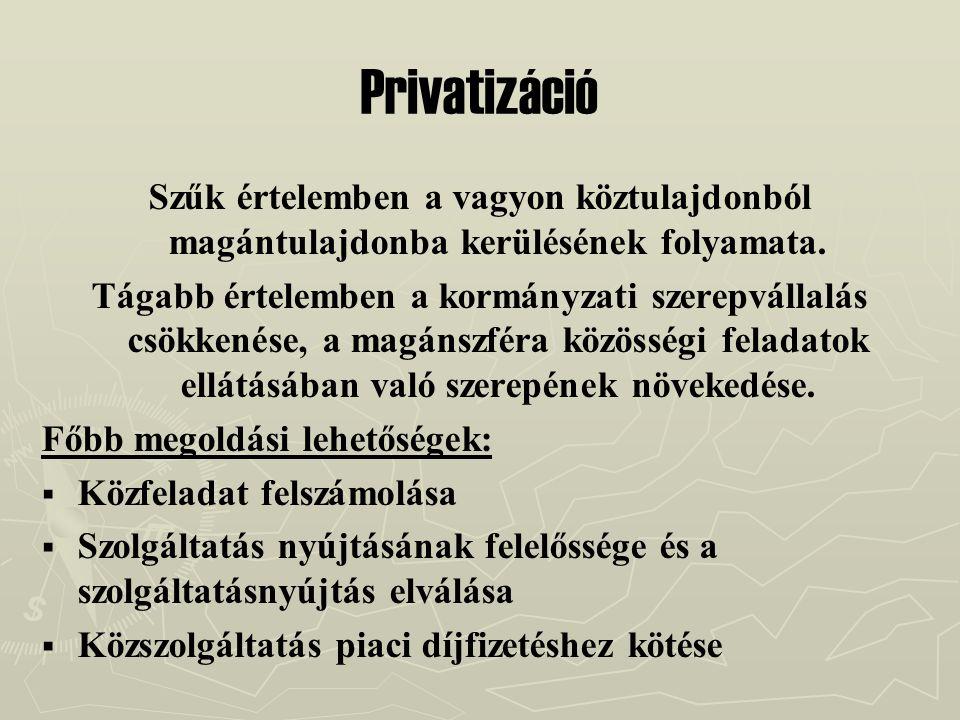 Privatizáció Szűk értelemben a vagyon köztulajdonból magántulajdonba kerülésének folyamata.