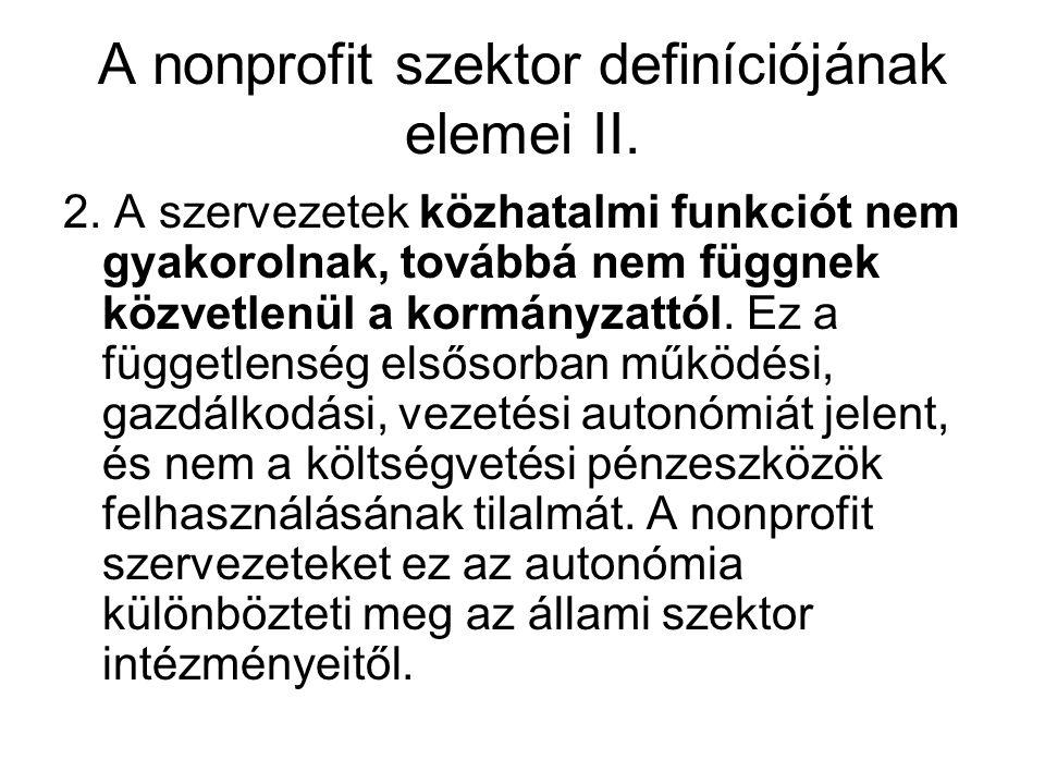 A nonprofit szektor definíciójának elemei II.
