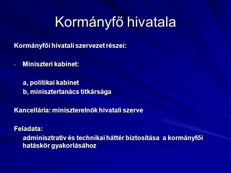 Kormányfő hivatala Kormányfői hivatali szervezet részei: