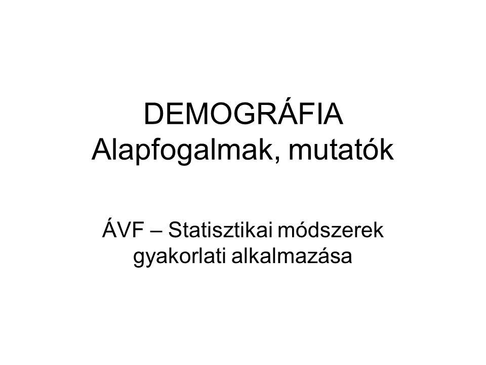 DEMOGRÁFIA Alapfogalmak, mutatók