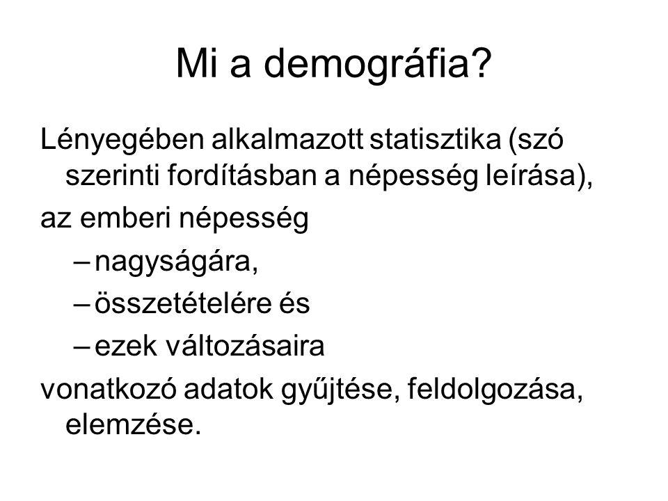 Mi a demográfia Lényegében alkalmazott statisztika (szó szerinti fordításban a népesség leírása), az emberi népesség.