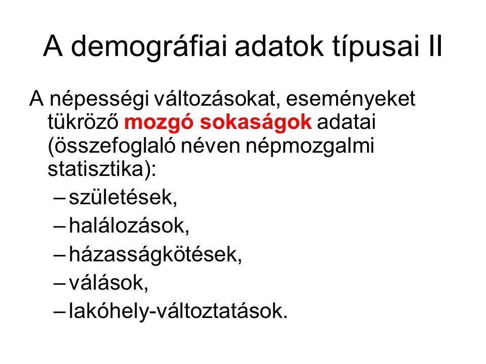 A demográfiai adatok típusai II