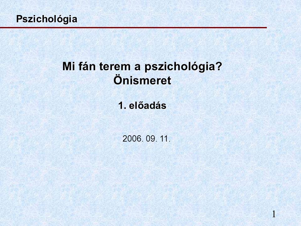 Mi fán terem a pszichológia Önismeret 1. előadás