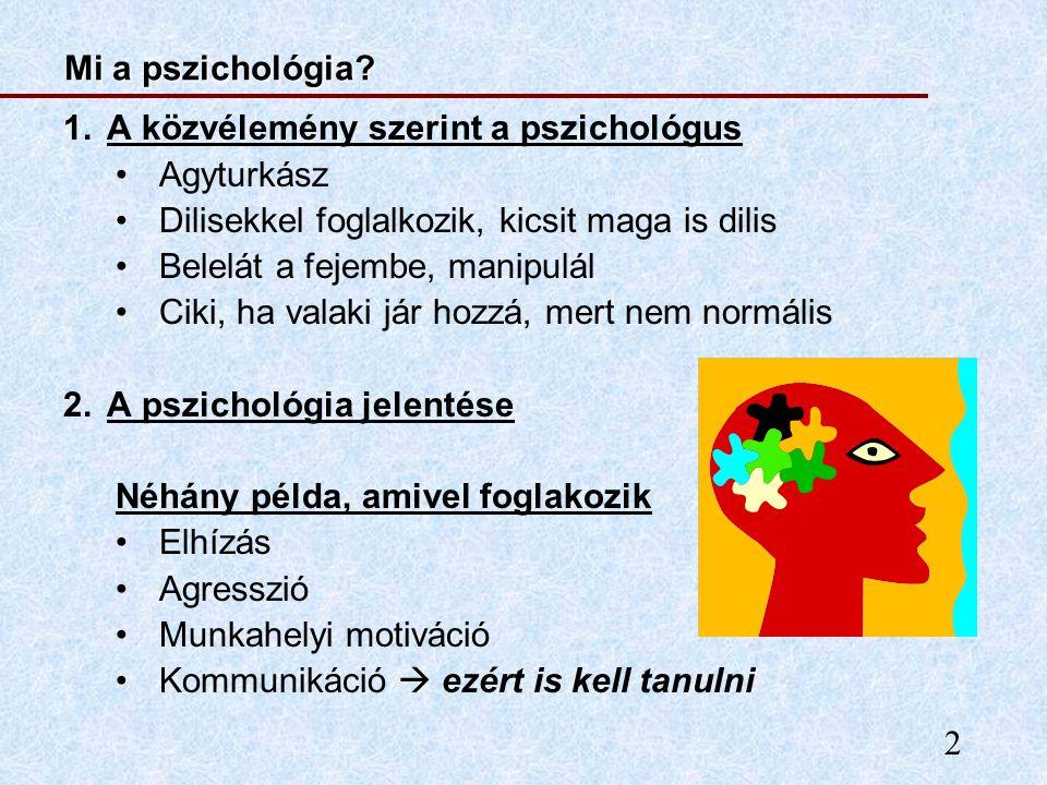 Mi a pszichológia A közvélemény szerint a pszichológus. Agyturkász. Dilisekkel foglalkozik, kicsit maga is dilis.