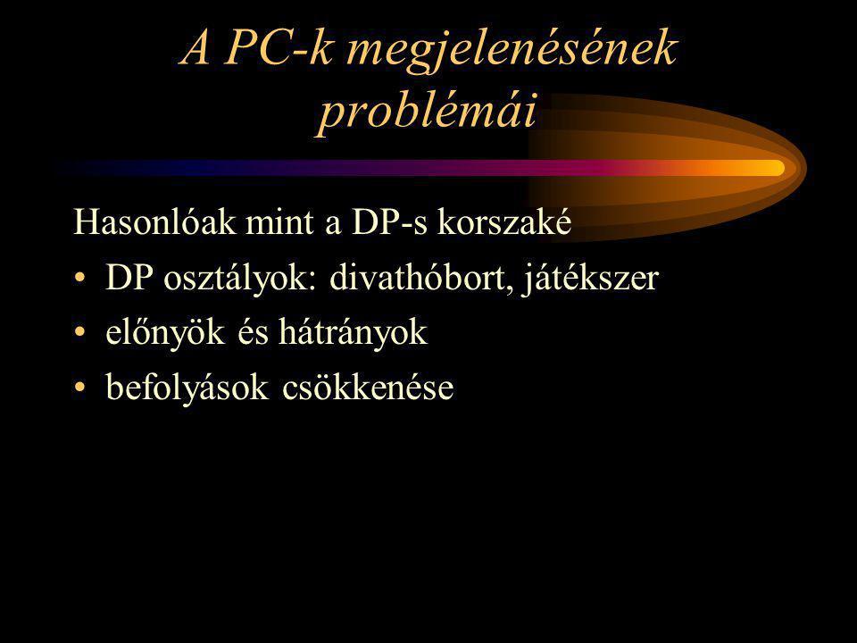 A PC-k megjelenésének problémái