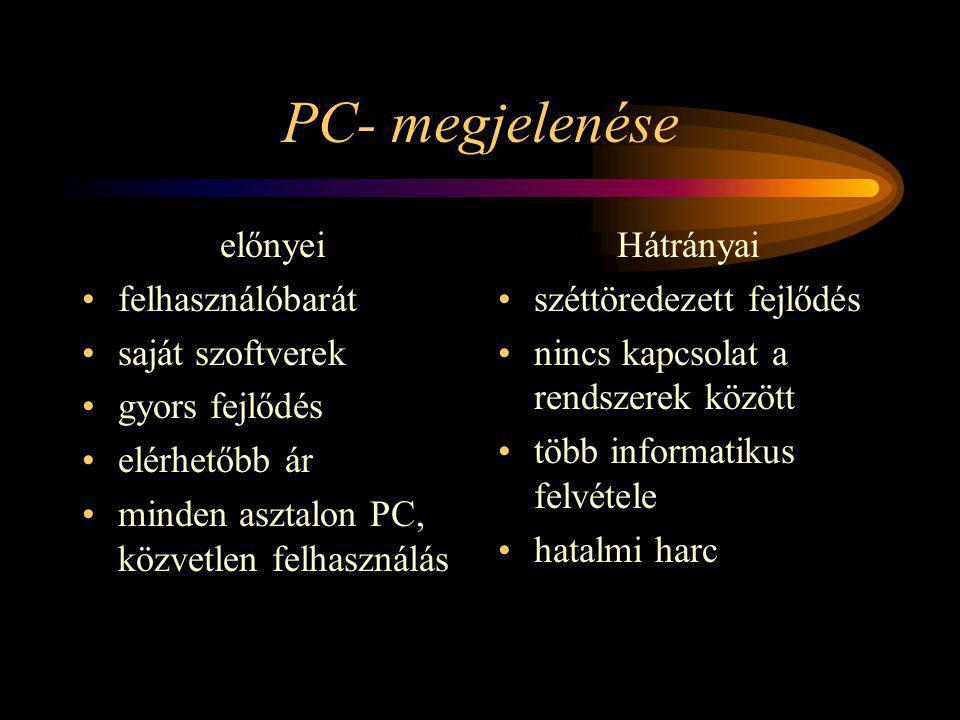 PC- megjelenése előnyei felhasználóbarát saját szoftverek