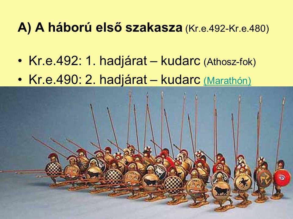 A) A háború első szakasza (Kr.e.492-Kr.e.480)
