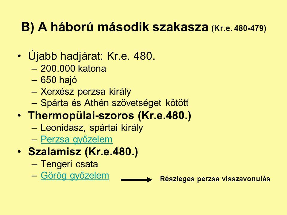 B) A háború második szakasza (Kr.e. 480-479)