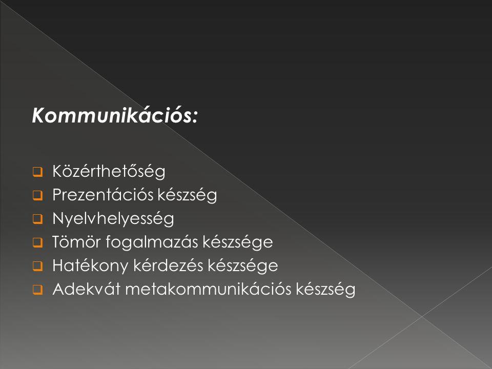 Kommunikációs: Közérthetőség Prezentációs készség Nyelvhelyesség