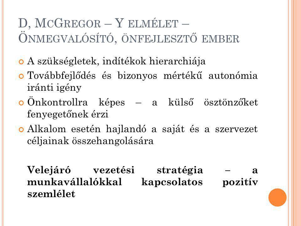 D, McGregor – Y elmélet – Önmegvalósító, önfejlesztő ember