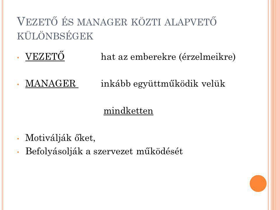 Vezető és manager közti alapvető különbségek