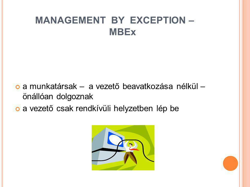 MANAGEMENT BY EXCEPTION – MBEx
