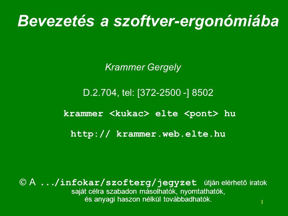Bevezetés a szoftver-ergonómiába