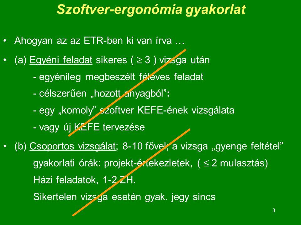 Szoftver-ergonómia gyakorlat