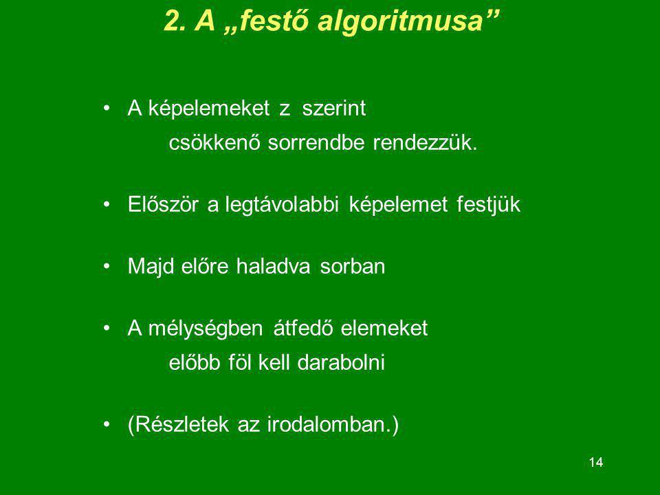 """2. A """"festő algoritmusa A képelemeket z szerint csökkenő sorrendbe rendezzük. Először a legtávolabbi képelemet festjük."""
