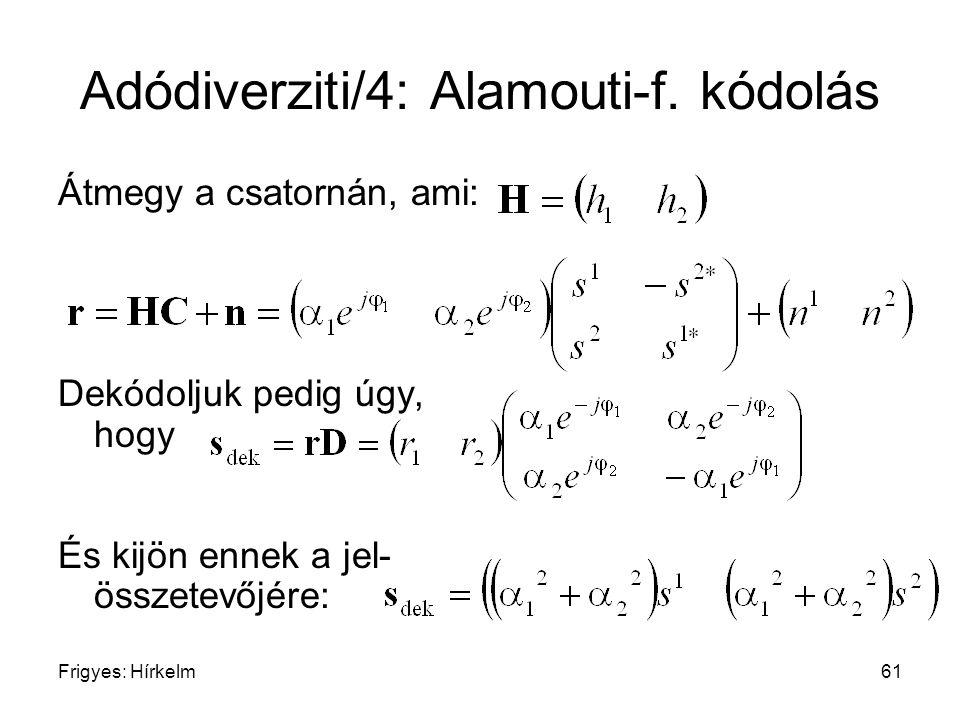 Adódiverziti/4: Alamouti-f. kódolás