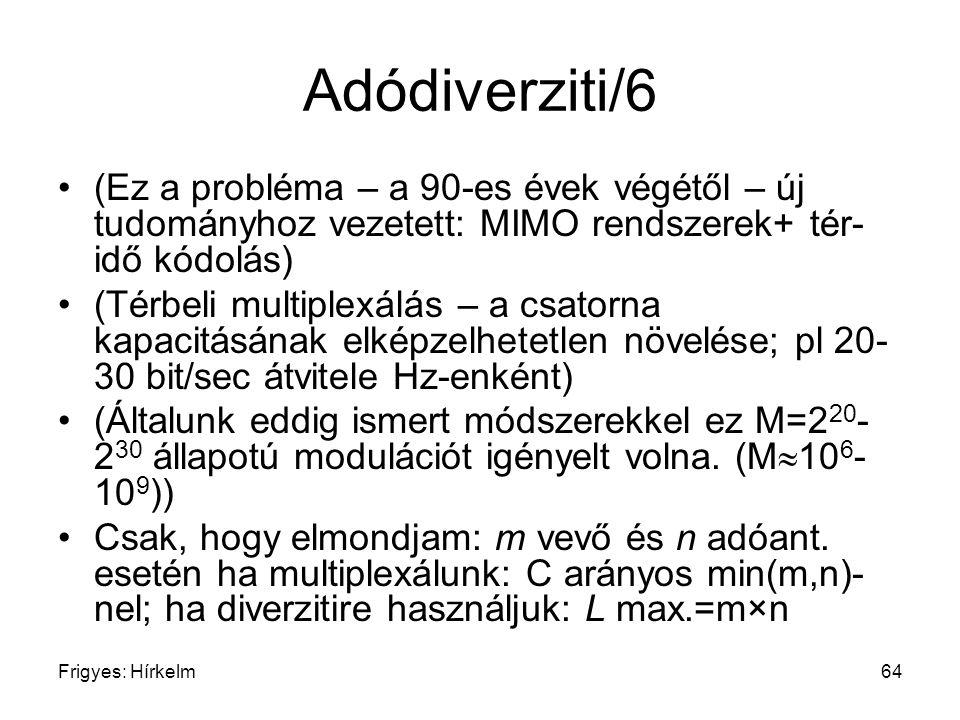 Adódiverziti/6 (Ez a probléma – a 90-es évek végétől – új tudományhoz vezetett: MIMO rendszerek+ tér-idő kódolás)
