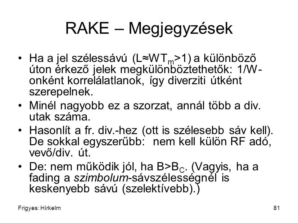 RAKE – Megjegyzések