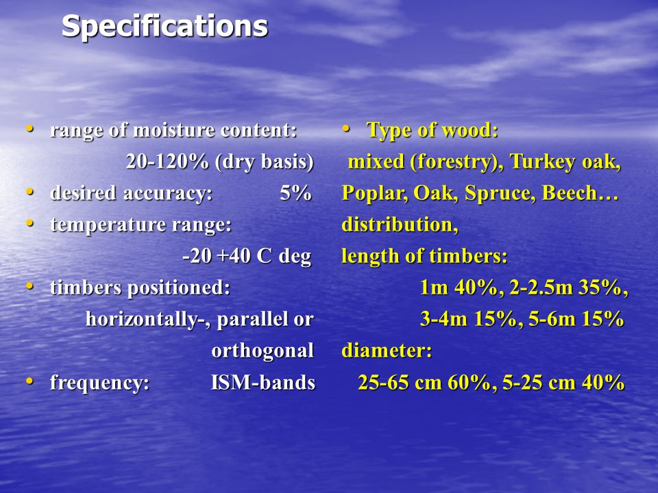 Specifications range of moisture content: 20-120% (dry basis)
