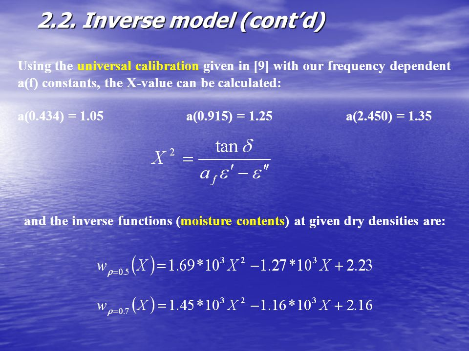 2.2. Inverse model (cont'd)