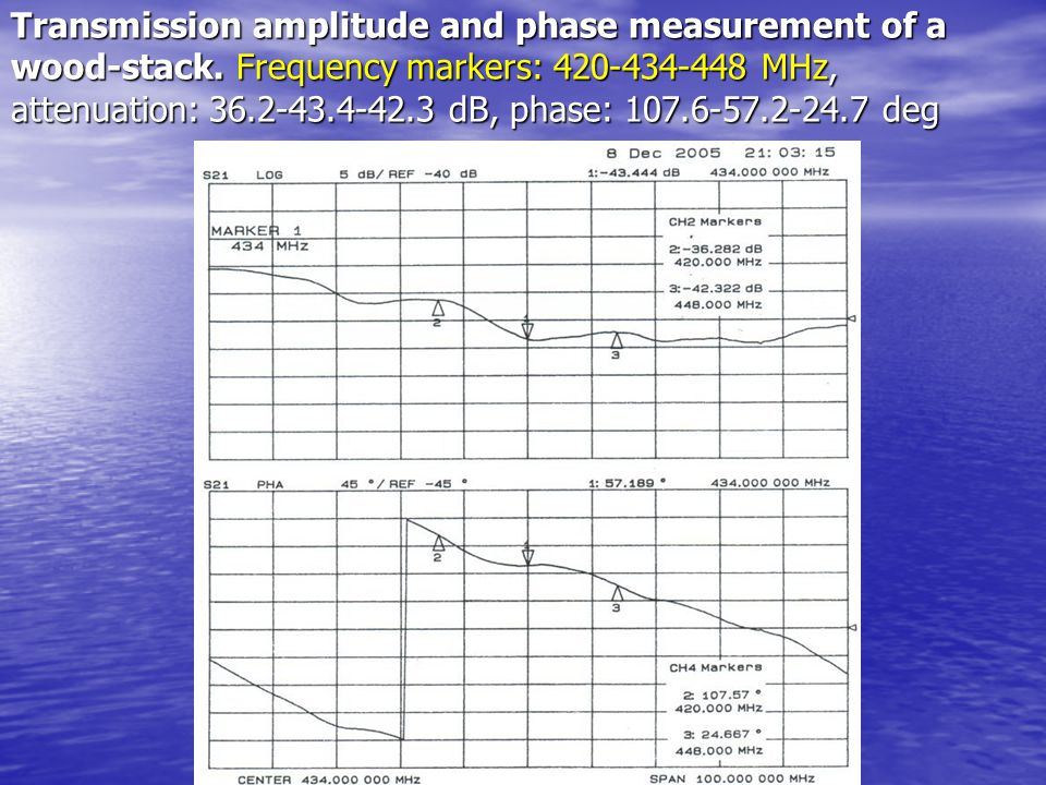 Transmission amplitude and phase measurement of a wood-stack