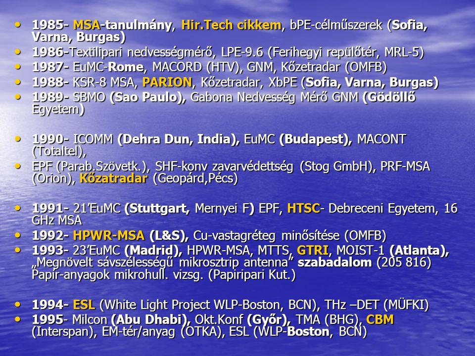 1985- MSA-tanulmány, Hir.Tech cikkem, bPE-célműszerek (Sofia, Varna, Burgas)