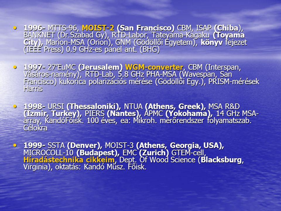 1996- MTTS-96, MOIST-2 (San Francisco) CBM, ISAP (Chiba), BANKNET (Dr