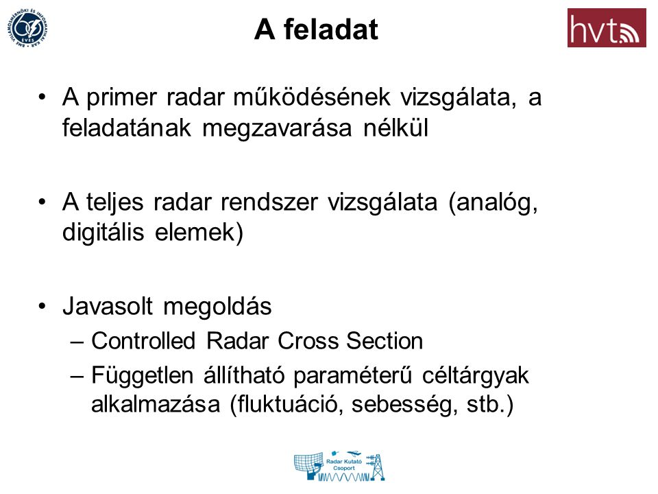 A feladat A primer radar működésének vizsgálata, a feladatának megzavarása nélkül. A teljes radar rendszer vizsgálata (analóg, digitális elemek)