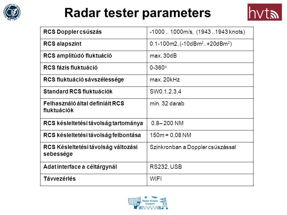 Radar tester parameters