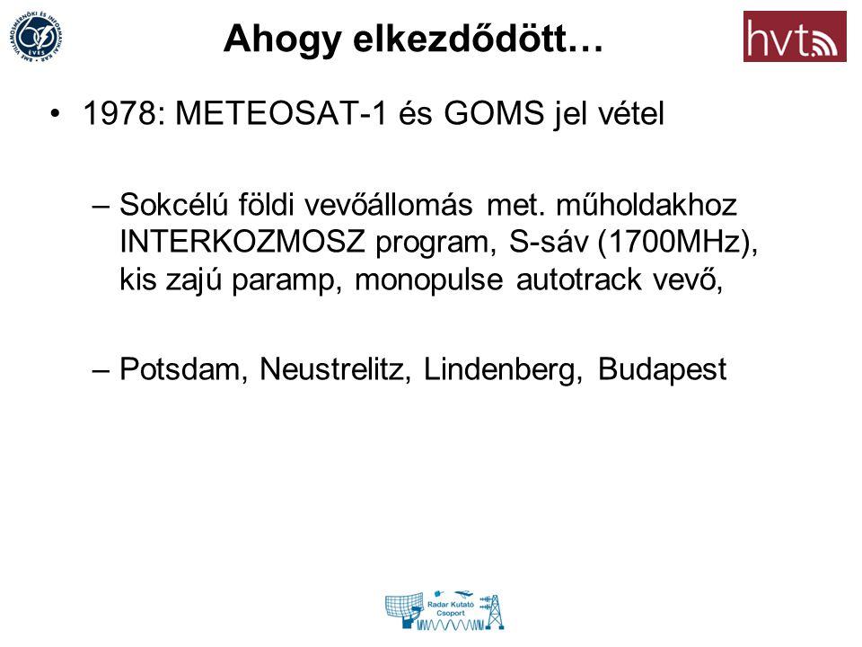 Ahogy elkezdődött… 1978: METEOSAT-1 és GOMS jel vétel