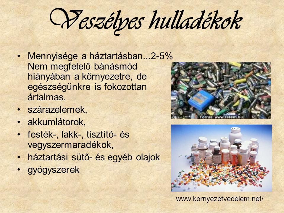 Veszélyes hulladékok Mennyisége a háztartásban...2-5% Nem megfelelő bánásmód hiányában a környezetre, de egészségünkre is fokozottan ártalmas.