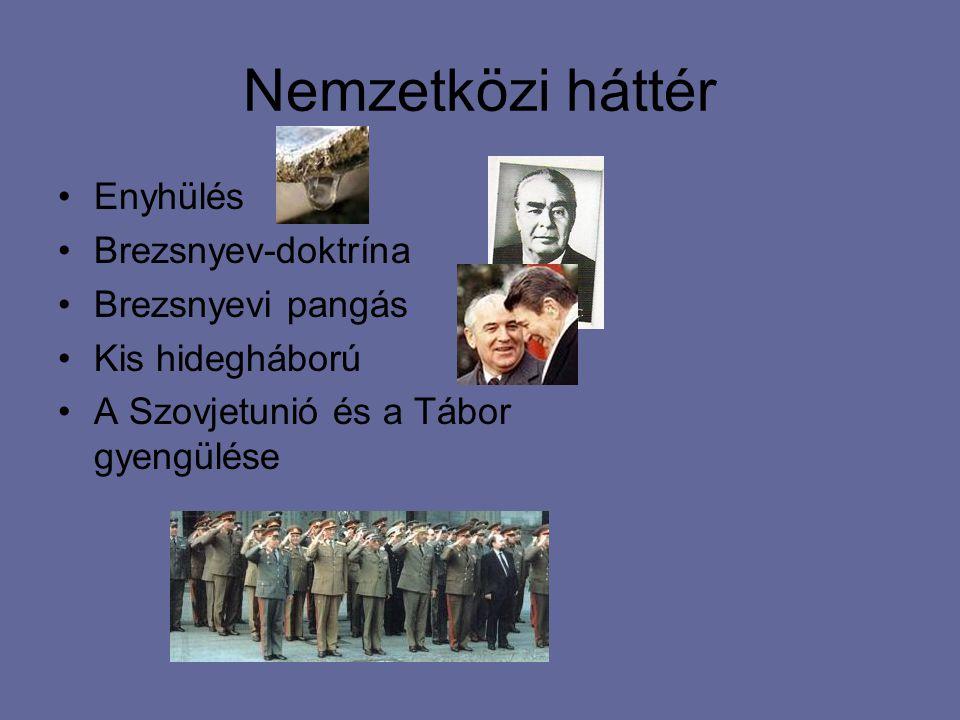 Nemzetközi háttér Enyhülés Brezsnyev-doktrína Brezsnyevi pangás