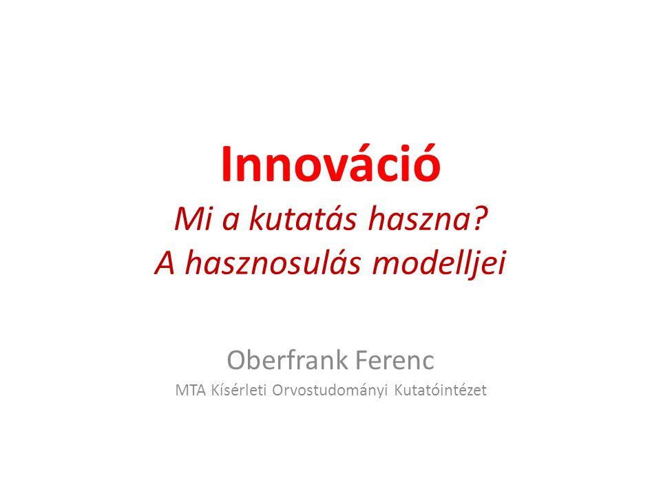 Innováció Mi a kutatás haszna A hasznosulás modelljei