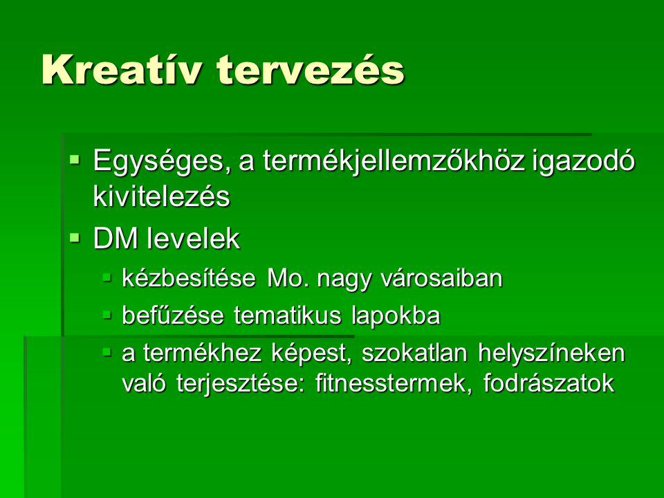 Kreatív tervezés Egységes, a termékjellemzőkhöz igazodó kivitelezés