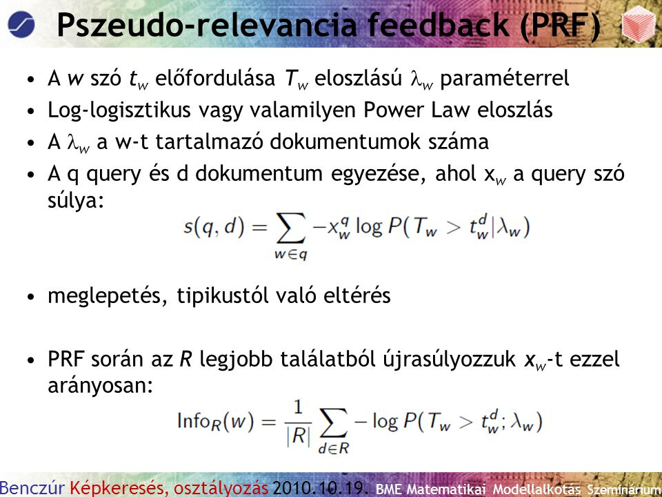 Pszeudo-relevancia feedback (PRF)