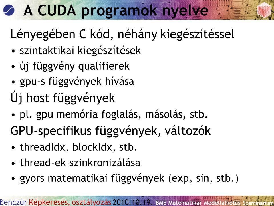 A CUDA programok nyelve