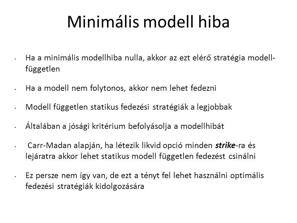 Minimális modell hiba Ha a minimális modellhiba nulla, akkor az ezt elérő stratégia modell- független.