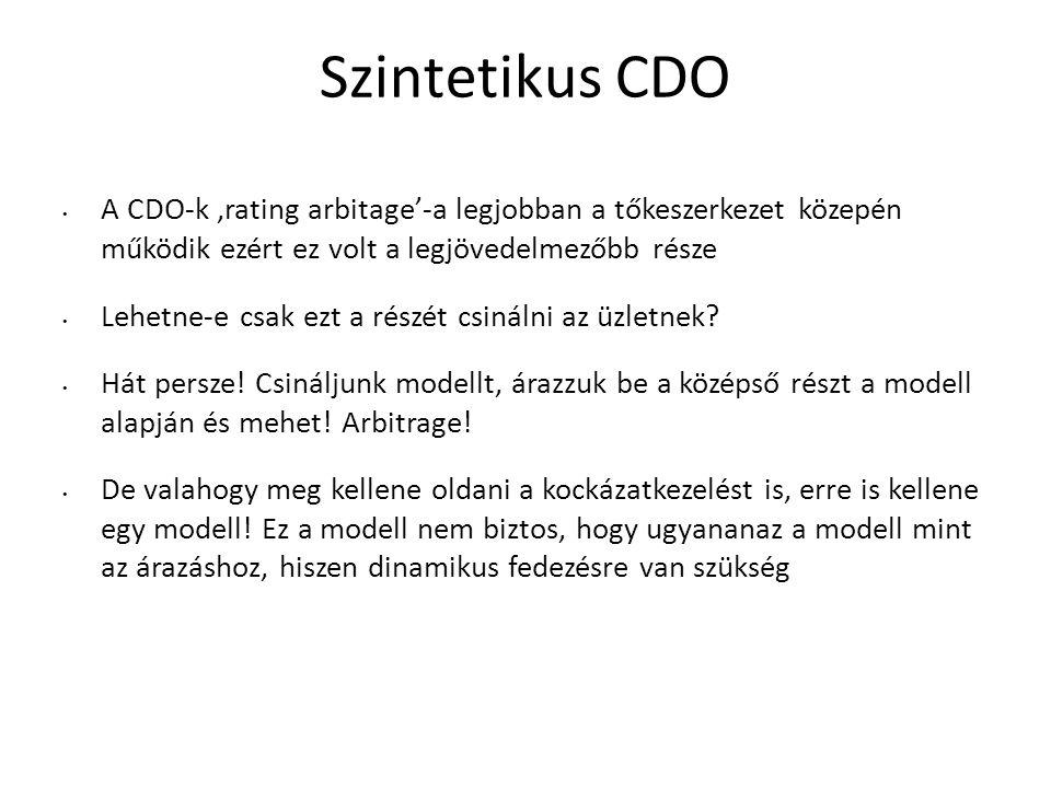 Szintetikus CDO A CDO-k 'rating arbitage'-a legjobban a tőkeszerkezet közepén működik ezért ez volt a legjövedelmezőbb része.