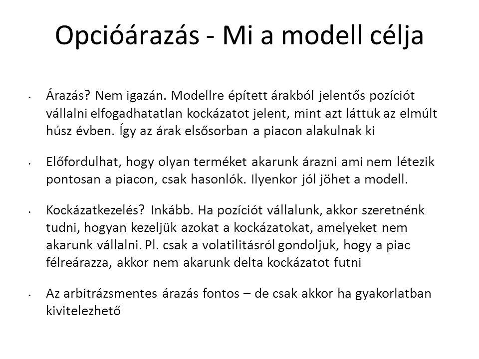 Opcióárazás - Mi a modell célja