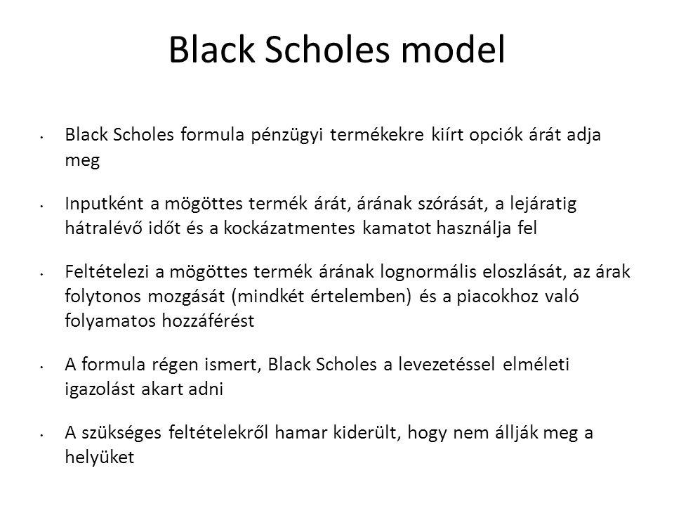 Black Scholes model Black Scholes formula pénzügyi termékekre kiírt opciók árát adja meg.