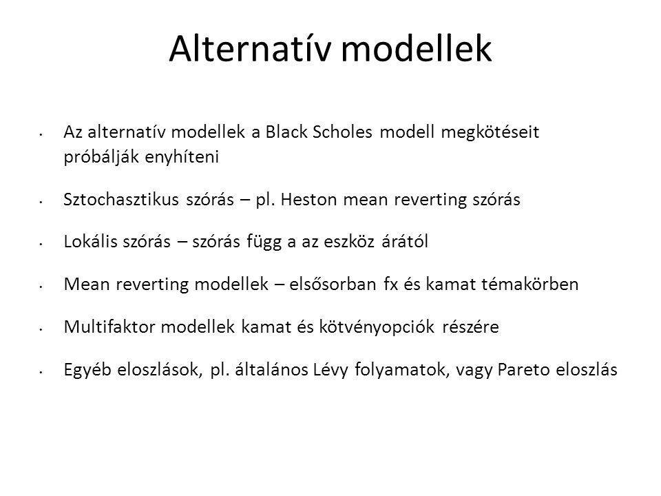 Alternatív modellek Az alternatív modellek a Black Scholes modell megkötéseit próbálják enyhíteni.