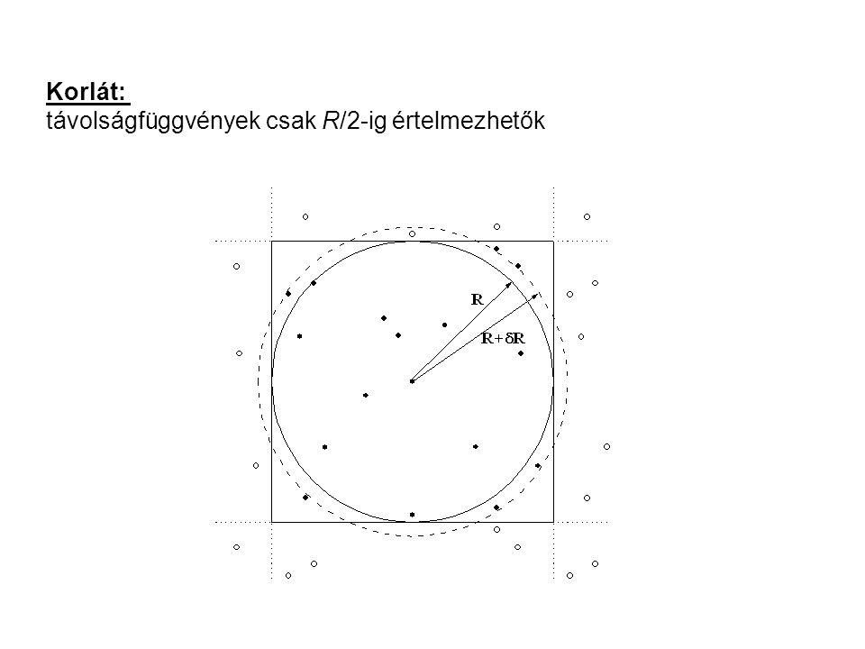 Korlát: távolságfüggvények csak R/2-ig értelmezhetők