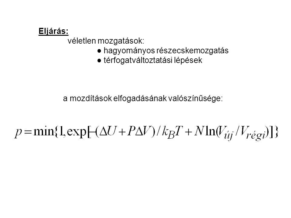 ● hagyományos részecskemozgatás ● térfogatváltoztatási lépések