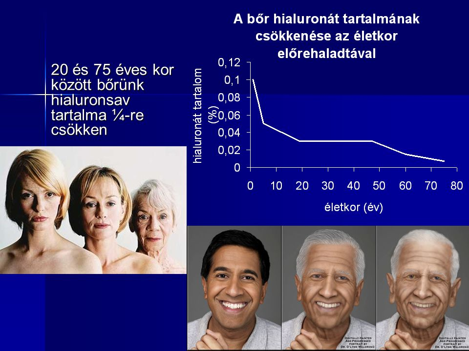20 és 75 éves kor között bőrünk hialuronsav tartalma ¼-re csökken
